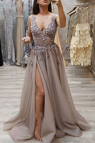 Charming A Line V Neck Open Back High Split Grey Lace Long Beads Long Prom Dresses uk PW213