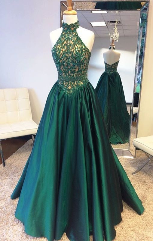 Elegant Halter Sweep Train Hunter Prom Dress with Lace Beading Prom Dresses uk PM679