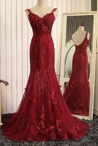 Stunning Mermaid Prom Dresses Uk  with Lace Appliques PM708