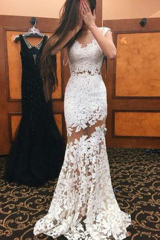 High Neck Cap Sleeves Lace Mermaid Sexy White Lace Open Back Beautiful Women Dresses uk PM843