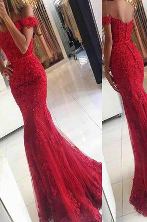Lace Mermaid Off Shoulder Red Prom Dresses,Charming Evening Dress,Sexy prom dress,L85