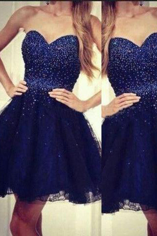 Modern Sweetheart A-line Beading Navy Blue Short Homecoming Dress PM442