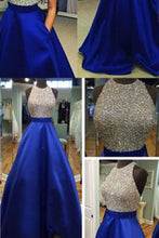 Charming Long Sexy Backless Halter Backless Sleeveless Beads with Pockets Prom Dresses uk PH60