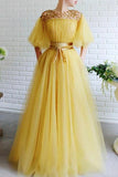 Elegant A Line Beading Tulle Yellow Prom Dresses with Belt, Long Evening Dresses P1540