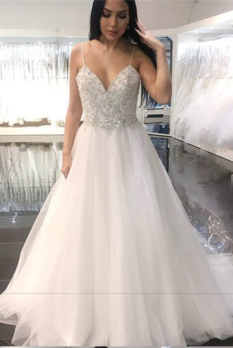 Elegant A Line Spaghetti Straps Backless V Neck Organza Wedding Dress with Beads PW229
