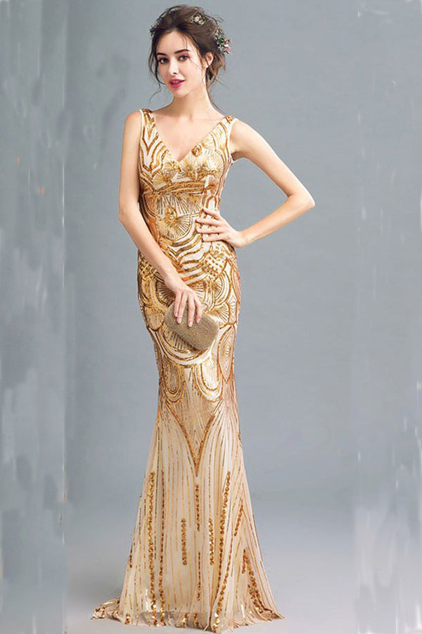 Fashion Sparkly Golden Sequins Mermaid Backless V Neck Prom Dresses
