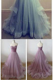 Hot Sale Charming Sweetheart A-line Tulle Floor Length Strapless Sleeveless Evening Dresses uk PH45