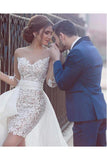 Unique Sheath Long Sleeve Sweetheart Tulle Lace Wedding Dresses, Beach Wedding Gowns W1162
