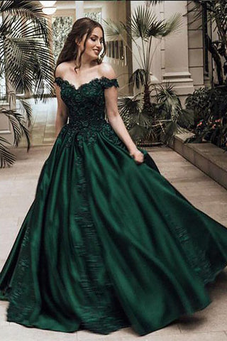 A-Line Ball Gown Off the Shoulder Green Sleeveless Sweetheart Lace Satin Prom Dresses PH555