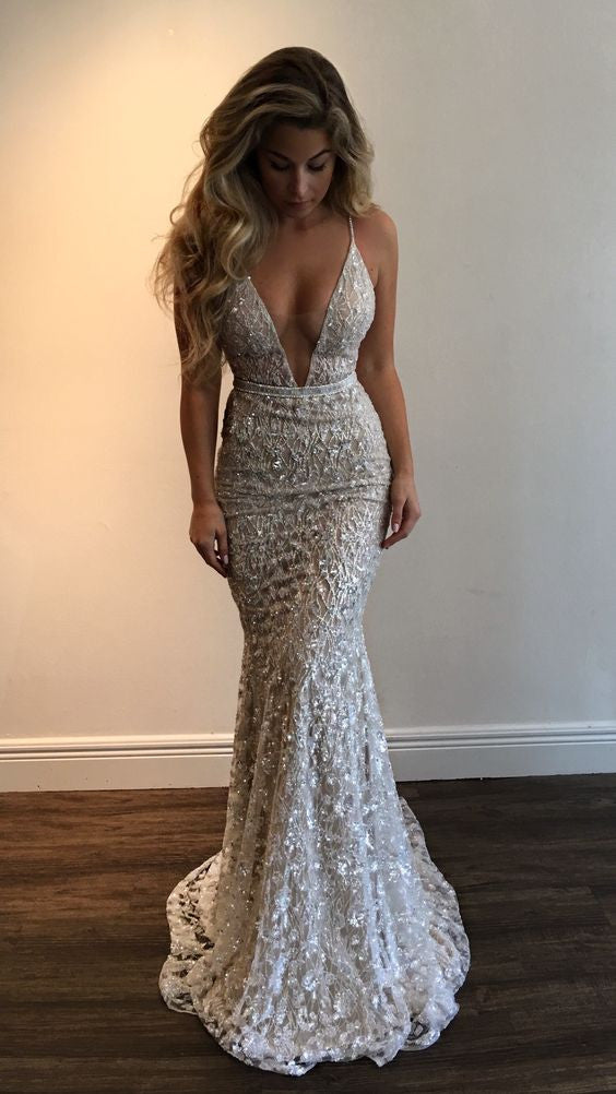Gorgeous Deep V-Neck Spaghetti Straps Sleeveless Mermaid Long Prom Dresses uk PM768