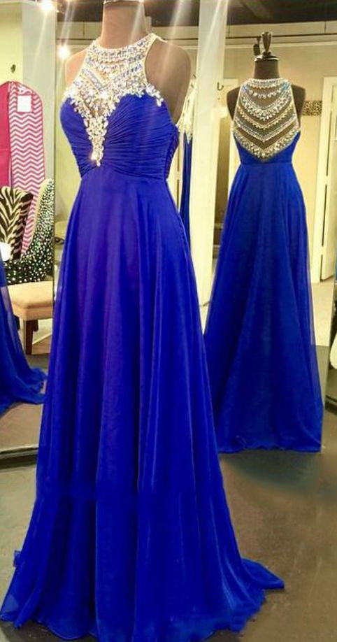 Royal Blue Sparkle Beads Halter Pretty Illusion High Neck Chiffon Prom Dresses uk PM146