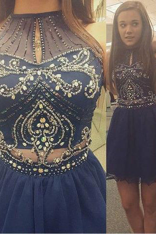 A-line High Neck Sleeveless Beaded Navy Blue Mini Chiffon Cocktail Homecoming Dress PM482