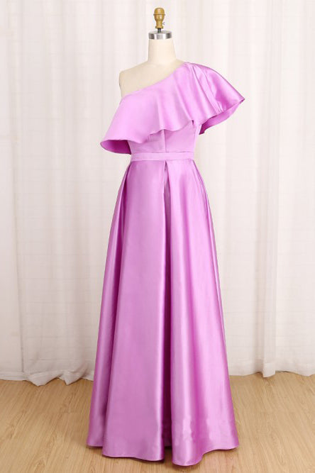 Elegant A Line One Shoulder Long Satin Prom Dress Daffodil Party Dress with Ruffles P1556
