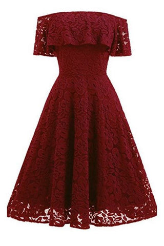 A Line Lace Strapless Off the Shoulder Burgundy Vintage Knee Length Homecoming Dress PH688