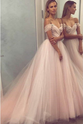 A Line Sweetheart Beaded Off the Shoulder Pink Long Prom Dresses,Wedding Dress uk PW132