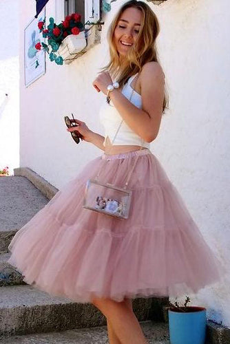 Cute Two Piece A Line Short Tulle Ruffles Scoop Knee Length Homecoming Dresses uk PH961