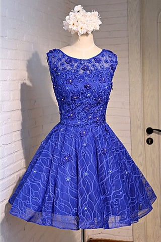 Blue Knee Length Homecoming Dresses with Beads Straps Short Prom Dresses PW803