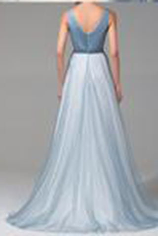 A-line V-neck Floor-length Tulle with Beading Prom Dresses Evening Dresses PH550