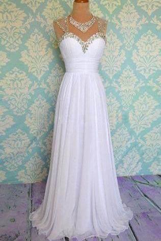 White Beading Long Chiffon Prom Dresses Evening Dresses PM495