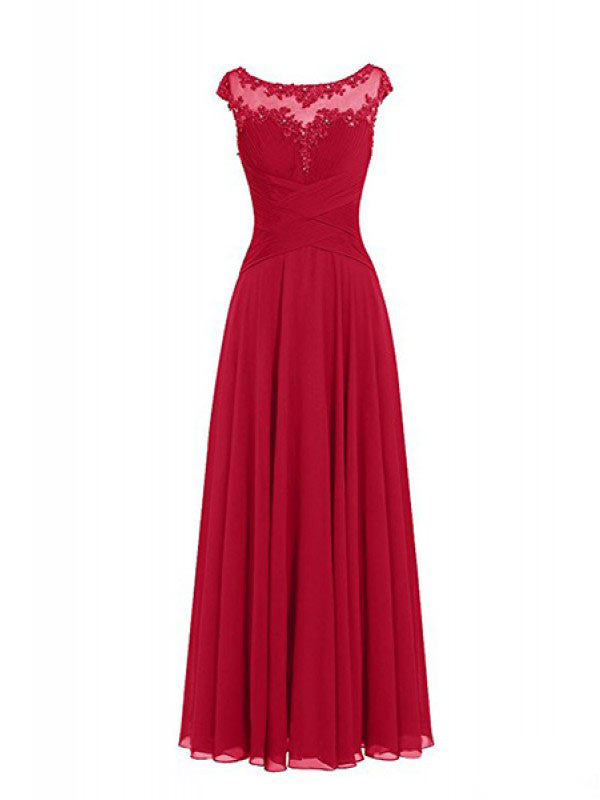Elegant Applique Beading Long Chiffon Prom Dresses Evening Dresses PM502