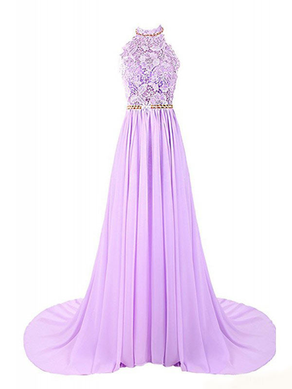 Halter Applique Open Back Long Chiffon Prom Dresses Evening Dresses PM490