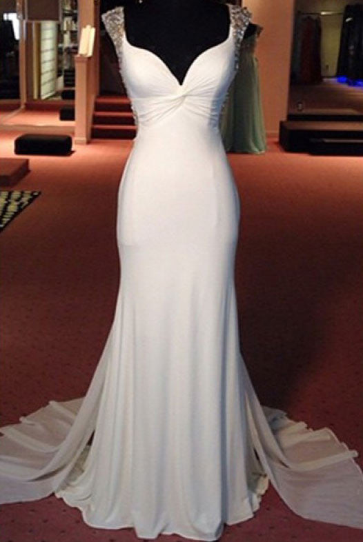Beading White Floor Length Chiffon Prom Dresses Evening Dresses