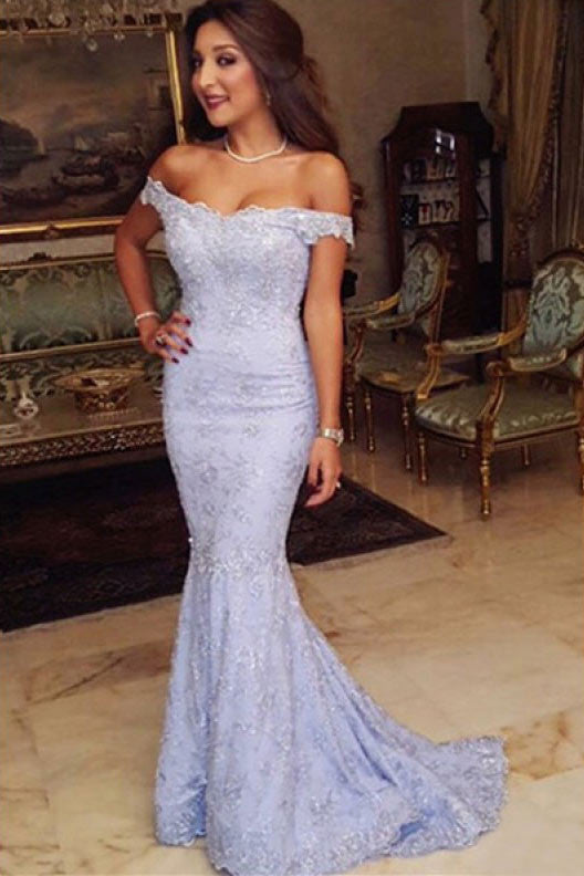 Off Shoulder Lace Floor Length Prom Dresses Evening Dresses