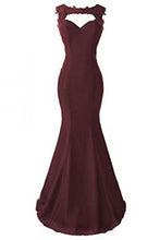 Burgundy Applique Long Mermaid Prom Dresses Evening Dresses PM570
