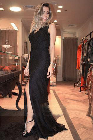 V-neck Black Lace Long Split Prom Dresses Evening Dresses PM501