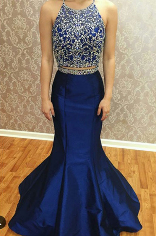 Two Pieces Beading Bodice Long Mermaid Prom Dresses Evening Dresses PM500