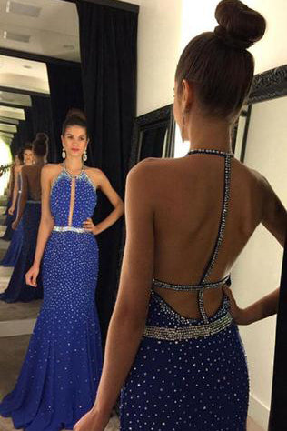 Halter Backless Sequins Long Satin Prom Dresses Evening Dresses PM505