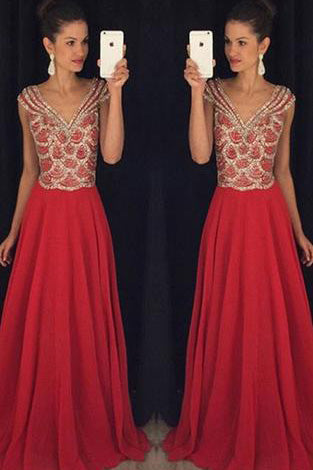 Red V-neck Beading Bodice Long Chiffon Prom Dresses Evening Dresses PM551
