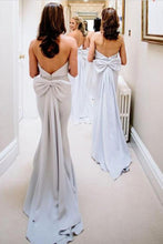 Modest Mermaid Strapless Long Light Sky Blue Bridesmaid Dresses uk with Bow PH834