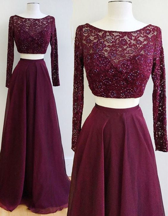 Two Piece Burgundy Bateau Long Sleeves Floor-Length Prom Dress with Lace Beading PM607