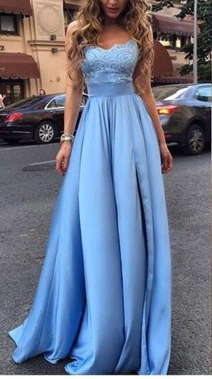 Sexy Appliques Long Blue Charming Sweetheart A-Line Floor-Length Prom Dresses uk PM225