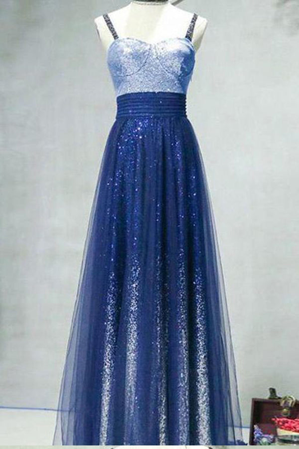 A Line Ombre Spaghetti Straps Tulle Blue Sequins Sweetheart Prom Homecoming Dress PH805