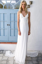 2018 Boho V-neck A-Line White Cheap Lace Chiffon Backless Sash Summer Beach Wedding Dresses PH308