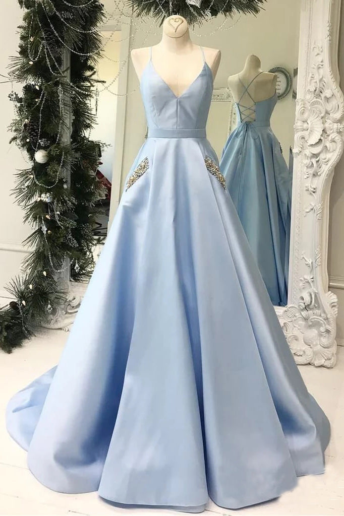 Simple V Neck Sky Blue Satin Long Prom Dresses with Pockets Beading, Formal Dresses P1373