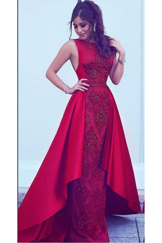2018 Long New Style Red Scoop Sleeveless Mermaid Satin Beads Prom Dresses UK PH388