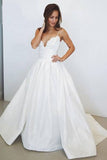 Charming A-Line Spaghetti Straps Ivory V-Neck Lace Sleeveless Wedding Dresses UK PH377