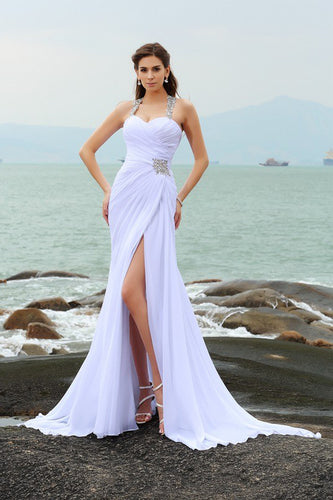 Sheath Straps Beading Long Halter Chiffon Slit Sweetheart Beach Wedding Dresses PH560