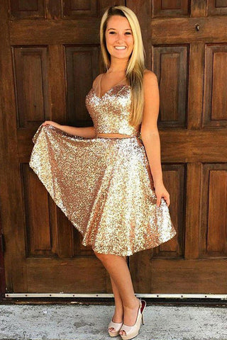 A-Line V-Neck Golden Sleeveless Knee-length Sequins Two Piece Homecoming Dresses PH747