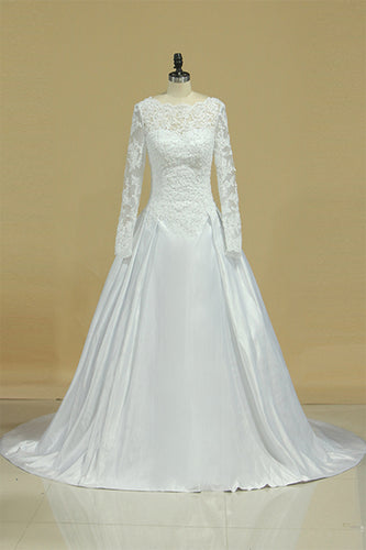 A Line Long Sleeves White Lace Appliques Satin Beads Open Back Wedding Dresses uk PH815