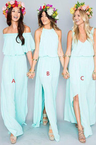 2017 Chiffon Cheap Long Pretty Young Mint Mismatched Side Split Bridesmaid Dresses