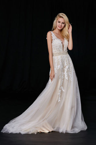 Elegant A-Line Tulle V-Neck V-Back Appliques Beads Ivory Cheap Prom Dresses uk PH496