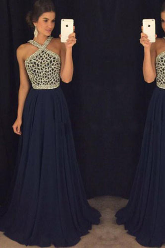 Elegant A Line Halter Dark Blue Beaded Long Chiffon Backless Long Prom Dresses uk PH810