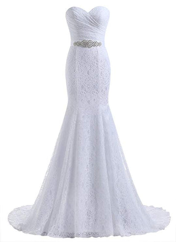 Mermaid Ivory Sweetheart Lace Wedding Dresses, Long Strapless Bridal Dresses uk PW350