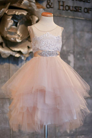 Blush Pink Flower Girl Dresses Cap Sleeve Asymmetric Tulle Lace Top Cute Dress for Kids PW99