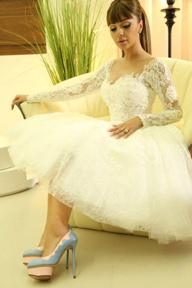 New Elegant Short Long Sleeves Sweetheart Cocktail Dress Ivory Lace Homecoming Dress PM838