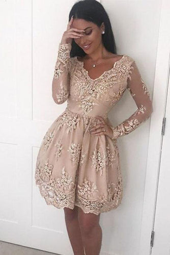 A Line V neck Lace Short Prom Dress, Long Sleeve Satin Appliques Homecoming Dresses PH693
